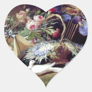 White Doves Birds Flowers painting Heart Sticker