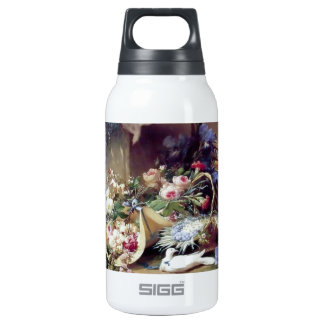 White Doves Birds Flowers painting Insulated Water Bottle
