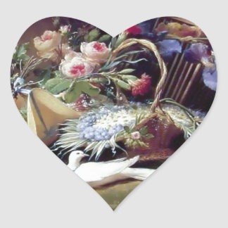 White Doves Birds Flowers painting Heart Stickers