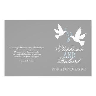 White doves blue ribbon grey Wedding Programme Personalized Flyer