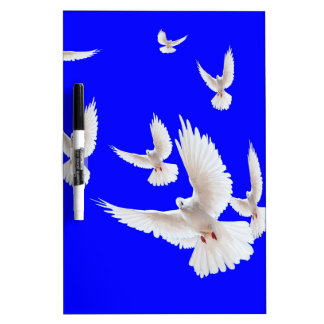 White Doves Cobalt Blue gifts by Sharles Dry Erase Board