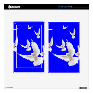 White Doves Cobalt Blue gifts by Sharles Skins For Kindle Fire