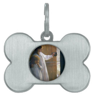 White Doves Door Girls Light painting Pet ID Tags