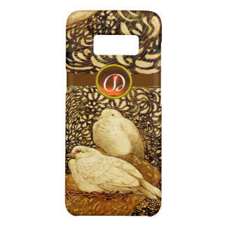 WHITE DOVES IN BROWN SEPIA,GEM STONE MONOGRAM Case-Mate SAMSUNG GALAXY S8 CASE