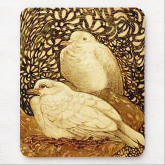 WHITE DOVES IN BROWN SEPIA MOUSE PAD