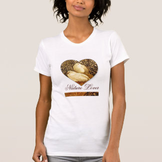 WHITE DOVES IN BROWN SEPIA  / NATURE LOVER HEART TEE SHIRT