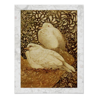 WHITE DOVES IN BROWN SEPIA POSTER
