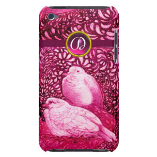 WHITE DOVES IN PINK FUCHSIA MONOGRAM iPod TOUCH COVER