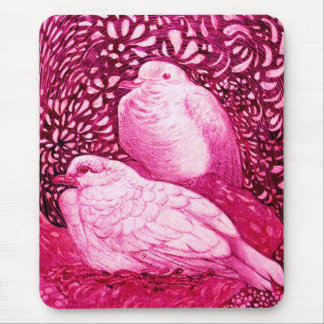 WHITE DOVES IN PINK FUCHSIA MOUSE PAD