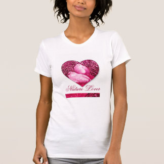 WHITE DOVES IN PINK FUCHSIA   / NATURE LOVER HEART T SHIRTS