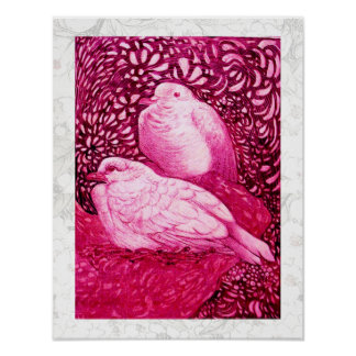 WHITE DOVES IN PINK FUCHSIA POSTER