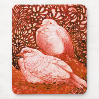 WHITE DOVES IN RED MOUSE PAD