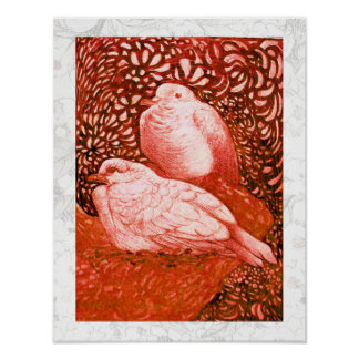 WHITE DOVES IN RED POSTER