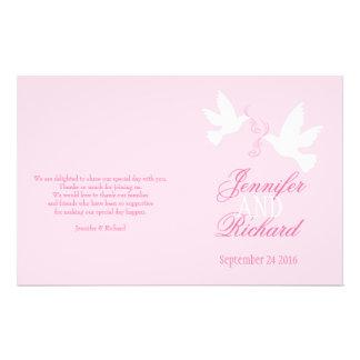 White doves light pink ribbon Wedding Programme Custom Flyer