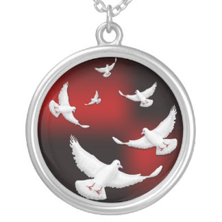 WHITE DOVES OF PEACE ROUND PENDANT NECKLACE