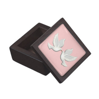White Doves On Pink Keepsake Box