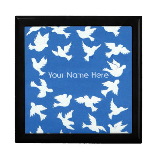 White Doves on Sky Blue Jewelry Box