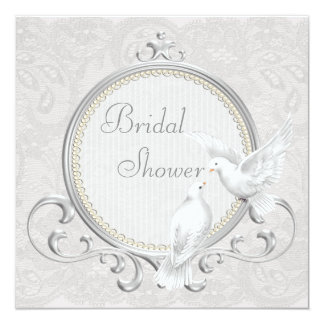 White Doves & Paisley Lace Bridal Shower Card