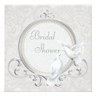 "White Doves & Paisley Lace Bridal Shower 5.25"" Square Invitation Card"