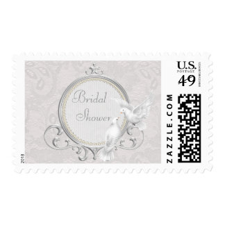 White Doves & Paisley Lace Bridal Shower Postage Stamp