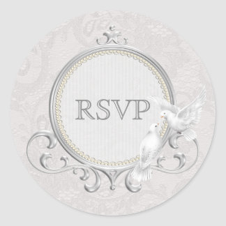 White Doves & Paisley Lace RSVP Wedding Classic Round Sticker