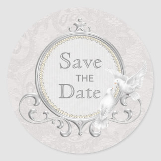 White Doves & Paisley Lace Save The Date Wedding Classic Round Sticker