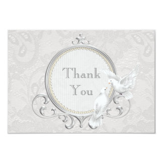 White Doves & Paisley Lace Thank You Wedding Card