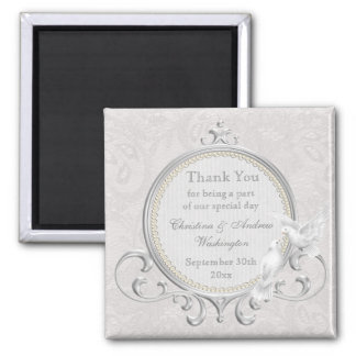 White Doves & Paisley Lace Thank You Wedding Favor 2 Inch Square Magnet