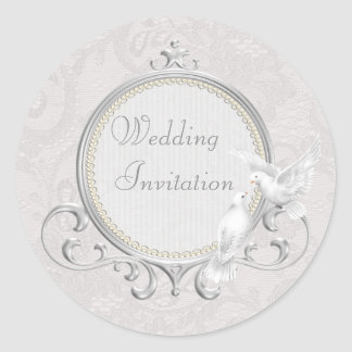 White Doves & Paisley Lace Wedding Invitation Classic Round Sticker