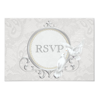 White Doves & Paisley Lace Wedding RSVP 3.5x5 Paper Invitation Card
