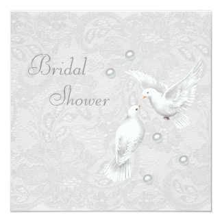 White Doves & Pearls Paisley Lace Bridal Shower Card