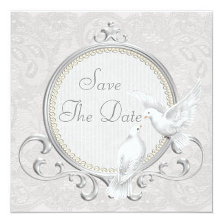 White Doves & Pearls Paisley Lace Save The Date Card