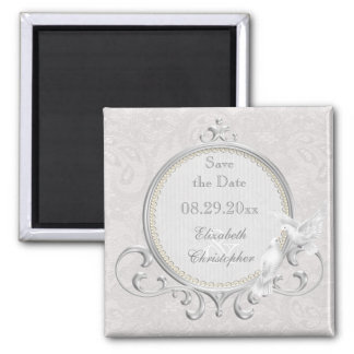 White Doves & Pearls Paisley Lace Save The Date 2 Inch Square Magnet