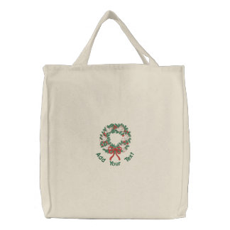 White Doves Wreath Embroidered Tote Bag