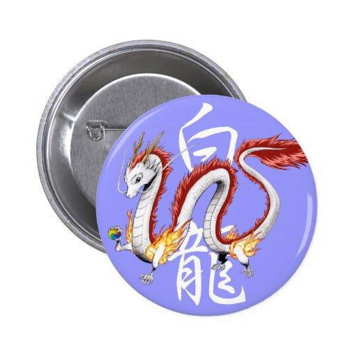 White Dragon -Button- Pin Redondo 5 Cm