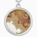 White Dragon - Fractal Art Silver Plated Necklace