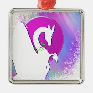 White Dragon Moon Holiday (Colorful Haze) Metal Ornament