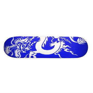 white dragon on blue skateboards