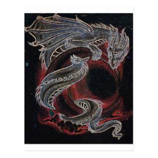 White Dragon, Red Moon on Black Postcard