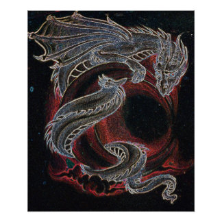 White Dragon Red Moon Poster