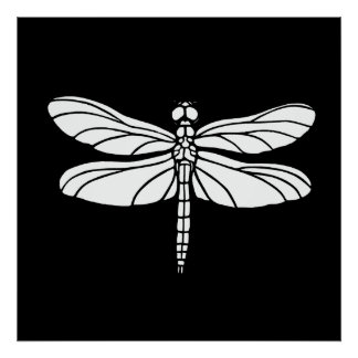White Dragonfly Poster