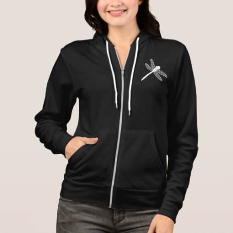 White Dragonfly Silhouette Hoodie