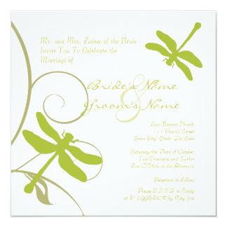 White Dragonfly Wedding Invitation