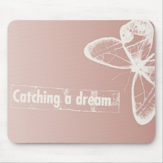 White Dream Butterfly Mouse Pad