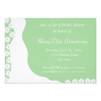 White Dress Bridal Shower Light Green Invitation