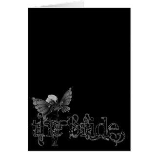 White Dress Fairy B&W Negative - The Bride Card