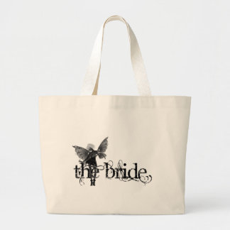 White Dress Fairy B&W Negative - The Bride Large Tote Bag