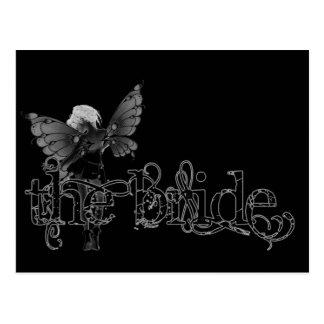 White Dress Fairy B&W Negative - The Bride Postcard