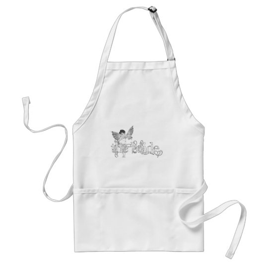 White Dress Fairy B&W - The Bride Adult Apron
