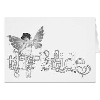 White Dress Fairy B&W - The Bride Greeting Card